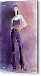 Woman In A Purple Jumpsuit Fashion Illustration Art Print Acrylic Print by Beverly Brown