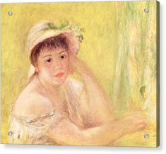 Woman In A Straw Hat, 1879 Acrylic Print by Pierre Auguste Renoir