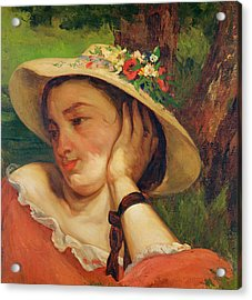 Woman In A Straw Hat With Flowers Acrylic Print by Gustave Courbet