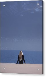Woman In Black Clothes Acrylic Print
