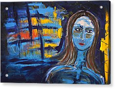 Woman In Blue Abstract Acrylic Print by Maggis Art