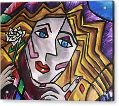 Woman In Cubism Acrylic Print by Rebecca Schoof