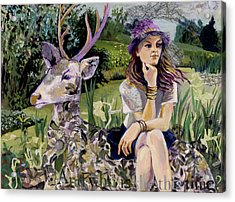 Woman In Hat Dreams With Stag Acrylic Print