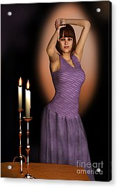 Woman In Purple Gown With Candles Acrylic Print