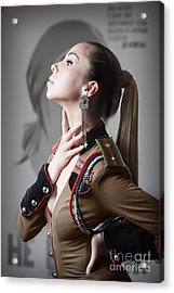Woman In Russian Fetish Uniform Caressing Her Throat With Her Hand Acrylic Print by Joe Fox