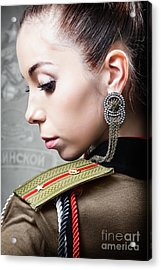 Woman In Russian Fetish Uniform Looking Over Her Shoulder Acrylic Print by Joe Fox