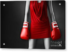 Woman In Sexy Red Dress Wearing Boxing Gloves Acrylic Print by Oleksiy Maksymenko