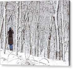 Woman In A Snow Covered Forest Acrylic Print