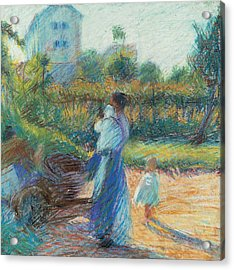 Woman In The Garden Acrylic Print by Umberto Boccioni