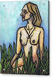 Woman In The Meadow Acrylic Print by Kamil Swiatek