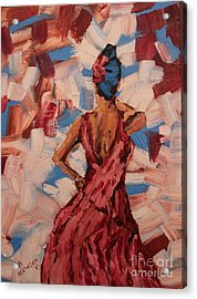 Woman In The Red Gown Acrylic Print by Lee Ann Newsom