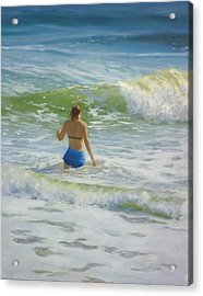 Woman In The Waves Acrylic Print