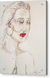 Acrylic Print featuring the painting Woman In Thought by Rand Swift