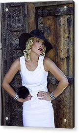 Woman In White Palm Springs Acrylic Print by William Dey