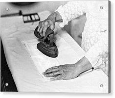 Woman Ironing With Flat Iron Acrylic Print