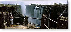 Woman Looking At The Victoria Falls Acrylic Print by Panoramic Images