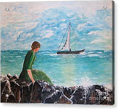 Woman Looking Out To Sea Acrylic Print