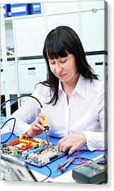 Woman Making A Micro Processor Acrylic Print by Wladimir Bulgar
