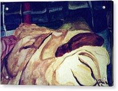 Woman Napping On A Couch  Acrylic Print