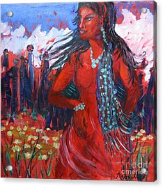 Woman Of The Whispering Wind Acrylic Print by Avonelle Kelsey