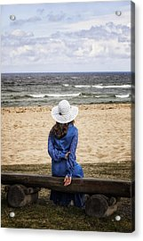 Woman On A Bench Acrylic Print