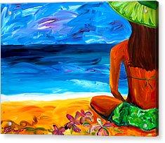 Woman On Beach Acrylic Print by Beth Cooper