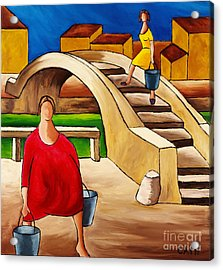 Woman On Bridge Acrylic Print by William Cain