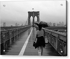 Woman On Brooklyn Bridge Acrylic Print