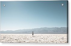 Woman On Field Against Clear Sky Acrylic Print by Christian Soldatke / EyeEm