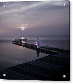 Woman On Footbridge Acrylic Print by Joana Kruse