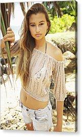 Woman On Hawaiian Beach Acrylic Print by Kicka Witte