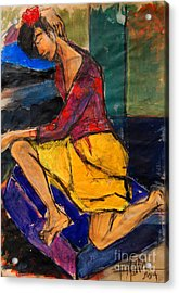 Woman On Purple Pillow - Pia #3 - Figure Series Acrylic Print by Mona Edulesco
