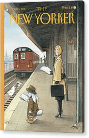 Woman On Train Platform Looking At Easter Bunny Acrylic Print by Harry Bliss
