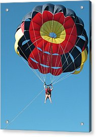Woman Parasailing Acrylic Print by Rob Huntley