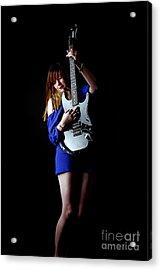 Woman Playing Lead Guitar Acrylic Print