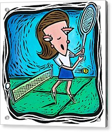 Woman Playing Tennis Acrylic Print by Jannine Cabossel