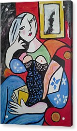 Acrylic Print featuring the painting Woman Reading A Book by Carol Duarte