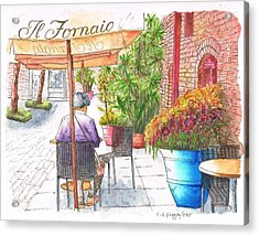 Woman Reading A Newspaper In Il Fornaio In Pasadena, California Acrylic Print
