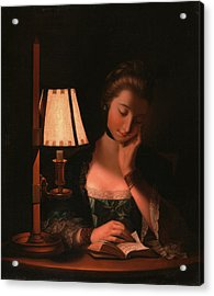 Woman Reading By A Paper-bell Shade, Henry Robert Morland Acrylic Print by Litz Collection