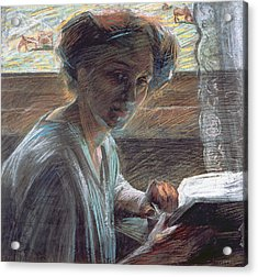 Woman Reading Acrylic Print by Umberto Boccioni