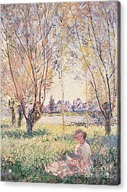 Woman Seated Under The Willows Acrylic Print by Claude Monet