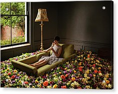 Woman Sitting On Sofa Surrounded By Acrylic Print by Anthony Harvie