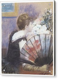 Woman Smelling Flowers Acrylic Print by Jean-Louis Forain