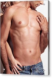 Woman Standing Behind A Man With Sexy Muscular Bare Torso Acrylic Print