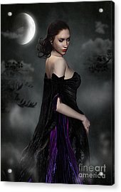 Woman Standing In Night Mist And Fog Acrylic Print