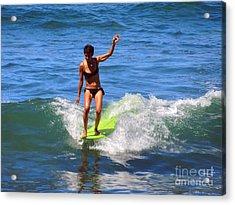 Woman Surfer Acrylic Print by Alexandra Jordankova