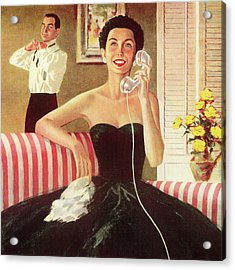 Woman Talking On The Telephone Acrylic Print