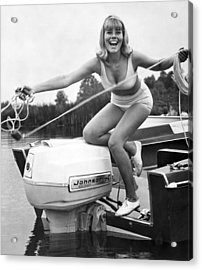 Woman Throwing A Boat Line Acrylic Print by Underwood Archives