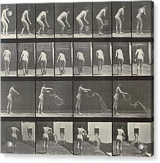 Woman Throwing A Bucket Of Water Acrylic Print by Eadweard Muybridge