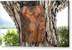 Woman Torso Relief Acrylic Print by Flow Fitzgerald